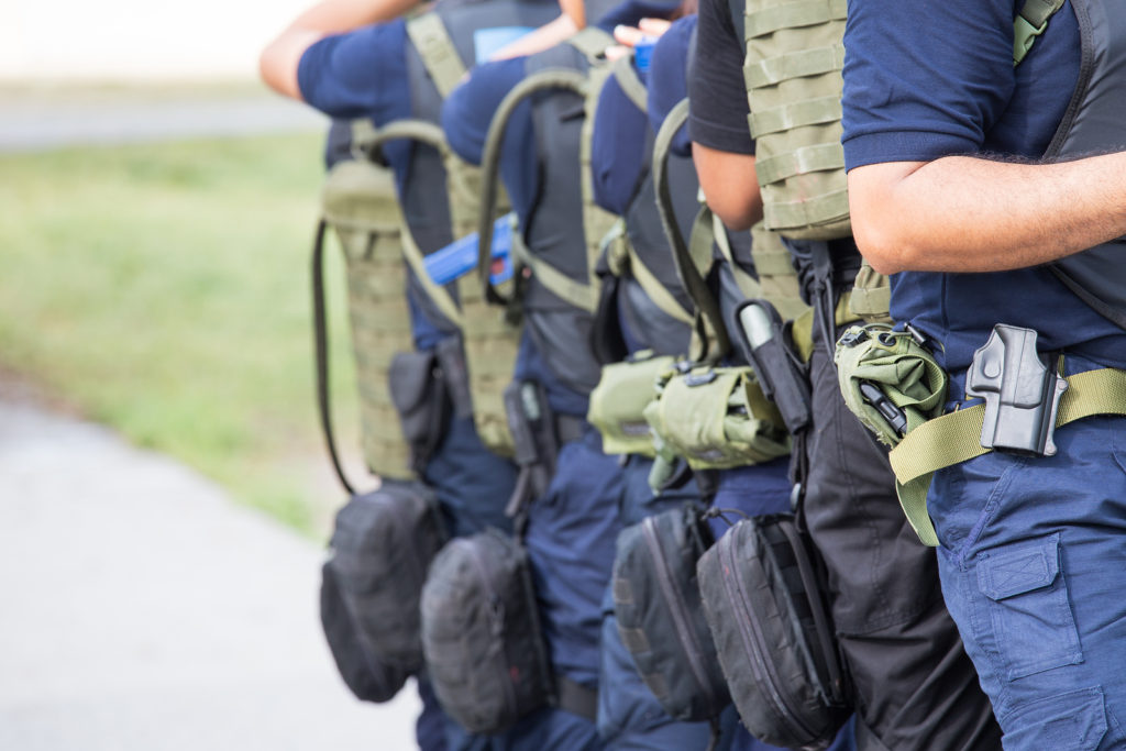 police officers with tactical gear