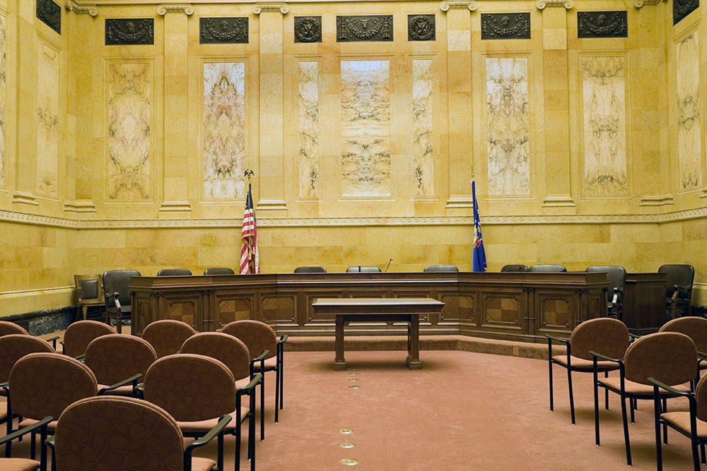 empty courtroom for civil rights case