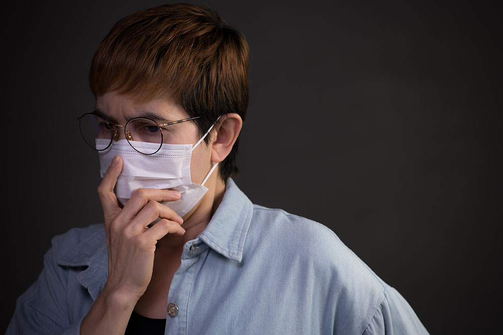 female employee wearing mask during coronavirus outbreak